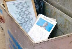 Atatürk posterleri çöpe dolduruldu