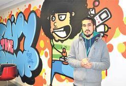 Ofis duvarında sokak sanatı