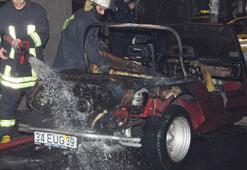 El yapımı araba yandı