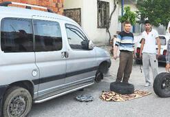 15 aracın lastikleri parçalandı