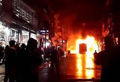 Gazi Mahallesinde belediye otobüsü yakıldı