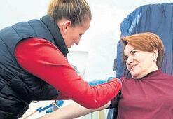 Akşener, askerler için kan bağışladı
