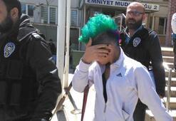 Yeşil saçlı kıza uyuşturucu gözaltısı