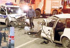 'Dur' ihtarına uymadı  polis aracına çarptı