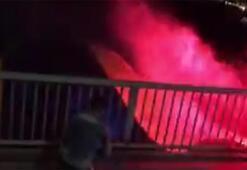Fenerbahçe bayrağını yakıp denize atan 4 holigan yakalandı