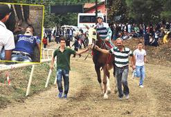 Yarış atı  izleyicilerin  arasına daldı
