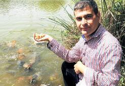 Yeni elleriyle  balıklari besledi