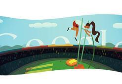 Londra 2012 sırıkla atlama için Google Doodle