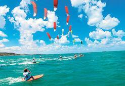 Kilyos'ta kiteboard rüzgarı esecek