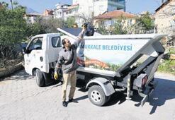 Pamukkale sokakları çöp taksiyle daha temiz oldu