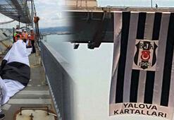 Beşiktaş bayrağı Osmangazi Köprüsüne asıldı
