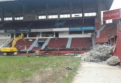 Trabzonsporun eski stadı Avni Akerde yangın çıktı