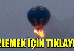 Balon havada alev aldı