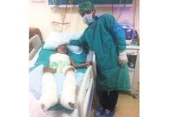 Önce kolunu sonra  bacağını kaybetti