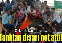 Tanktan not attı linçten polis kurtardı