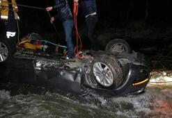 Rizede otomobil dereye uçtu: 1 ölü, 3 yaralı