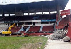 Avni Aker Stadyumuna yıkım için ilk kepçe vuruldu