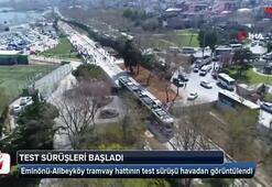 Eminönü-Alibeyköy tramvay hattının test sürüşü havadan görüntülendi
