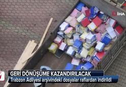 Trabzon Adliyesi arşivindeki dosyalar raflardan indirildi