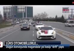 """İstanbul'da lüks otomobilli düğün konvoyunda """"drift"""" terörü"""