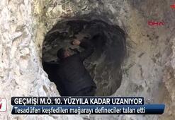 Tesadüfen keşfedilen mağarayı defineciler talan etti