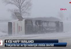 Trakyada kar ve tipi nedeniyle otobüs devrildi