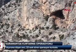 Kayalıklardan mahsur kalan avcı kurtarıldı