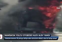 Yolcu otobüsü alev alev yandı, sürücü faciayı önledi