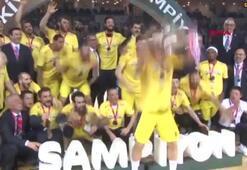 Şampiyon Fenerbahçe Beko kupasını aldı
