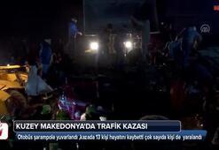 Makedonyada yolcu otobüsü şarampole yuvarlandı