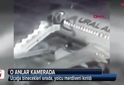 Uçağa binecekleri sırada, yolcu merdiveni kırıldı