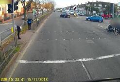 Sürücünün kırmızı ışık ihlali, az daha can alıyordu