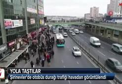 Şirinevlerde otobüs durağı trafiği havadan görüntülendi