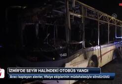 İzmirde seyir halindeki otobüs yandı
