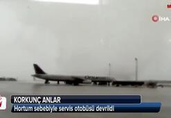 Antalya Havalimanında hortum sebebiyle servis otobüsü devrildi