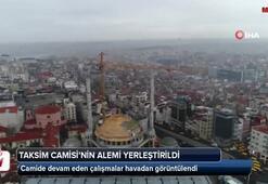Taksim Camii'nin alemi yerleştirildi