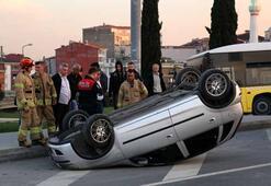 Kaza yapan sürücü, önce kaçtı sonra geri döndü