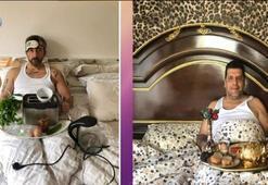 Yunus Günçe'den yatakta kahvaltı pozu