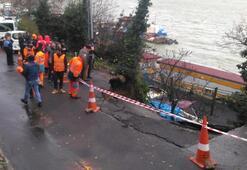 İstanbulda yağmur... Sarıyerde yol çöktü