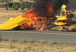 Son dakika: Düşen uçak alev topuna döndü