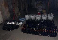 Balıkesirde evde 422 şişe sahte içki ele geçirildi