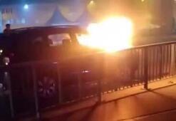 Mecidiyeköy'de lüks cip alev alev yandı