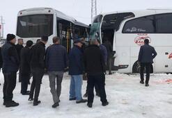 İki otobüs çarpıştı Çok sayıda yaralı var