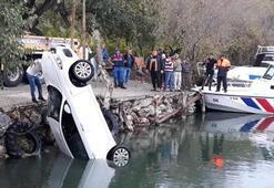 Dalyan Kanalına devrilen araçtaki şahıslar böyle kurtarıldı