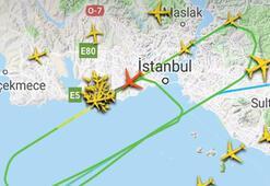 Son dakika: Radara böyle yansıdı İstanbulda 3 uçak...