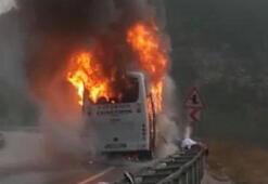 Afyonkarahisarda takım otobüsü yandı