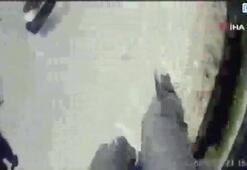 Emniyet şeridine giren araç motorcuya çarptı