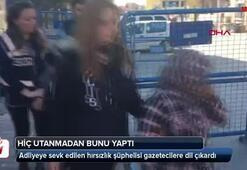 400 bin lira çaldı Kucağında çocuğuyla gazetecilere dil çıkardı…