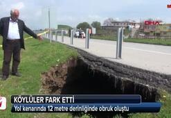 Yol kenarında 12 metre derinliğinde obruk oluştu