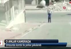 Omzunda kombi ile polise yakalandı
